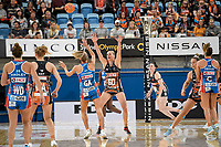 6th June 2021; Ken Rosewall Arena, Sydney, New South Wales, Australia; Australian Suncorp Super Netball, New South Wales, NSW Swifts versus Giants Netball; April Brandley of the Giants Netball blocks the pass