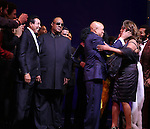 Smokey Robinson, Stevie Wonder, Berry Gordy, Diana Ross & Mary Wilson during the Broadway Opening Night Performance Curtain Call for 'Motown The Musical'  at the Lunt Fontanne Theatre in New York City on 4/14/2013..