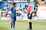 Getafe's Pedro Leon have words with the referee Gonzalez Gonzalez during La Liga match. April 16,2016. (ALTERPHOTOS/Acero)