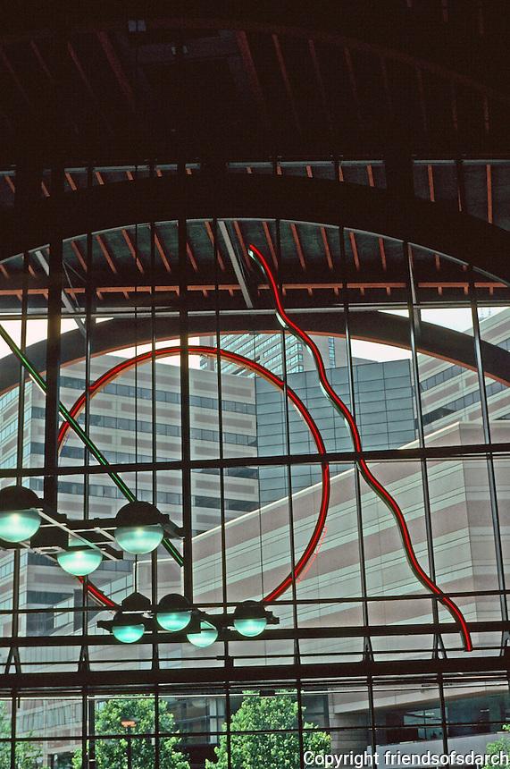 Boston: Boston Back Bay Station--interior.  Sculptural lighting.  Architects Kallman McKinnell & Wood. Photo '91.
