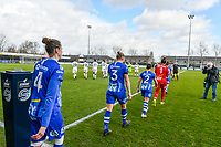 players KAA Gent entering the field before a female soccer game between  AA Gent Ladies and Club Brugge YLA on the 16th matchday of the 2020 - 2021 season of Belgian Scooore Womens Super League , saturday 13 th of March 2020  in Oostakker , Belgium . PHOTO SPORTPIX.BE | SPP | STIJN AUDOOREN