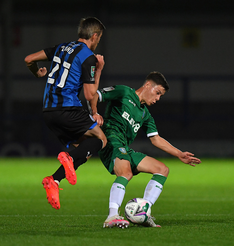 Sheffield Wednesday's Alex Hunt holds off Rochdale's Matthew Lund<br /> <br /> Photographer Dave Howarth/CameraSport<br /> <br /> Carabao Cup Second Round Northern Section - Rochdale v Sheffield Wednesday - Tuesday 15th September 2020 - Spotland Stadium - Rochdale<br />  <br /> World Copyright © 2020 CameraSport. All rights reserved. 43 Linden Ave. Countesthorpe. Leicester. England. LE8 5PG - Tel: +44 (0) 116 277 4147 - admin@camerasport.com - www.camerasport.com