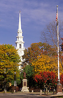 Keene, New Hampshire, NH, Church in downtown Keene in the autumn.