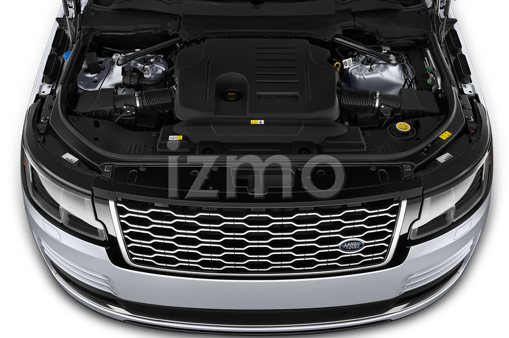 Car Stock 2020 Land Rover Range-Rover HSE 5 Door SUV Engine  high angle detail view