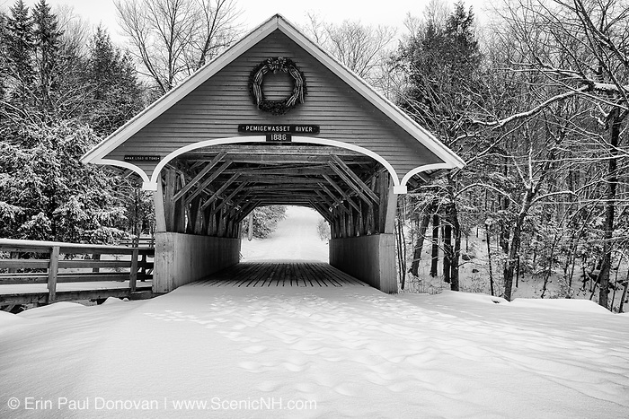 Franconia Notch State Park - the Flume Covered Bridge in Lincoln, New Hampshire. This bridge, located near the Flume Visitor Center, crosses the Pemigewasset River.