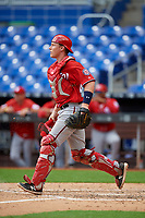 Washington Nationals catcher Alex Dunlap (27) during a Florida Instructional League game against the Miami Marlins on September 26, 2018 at the Marlins Park in Miami, Florida.  (Mike Janes/Four Seam Images)