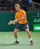 Switserland, Genève, September 20, 2015, Tennis,   Davis Cup, Switserland-Netherlands, Tim van Rijthoven (NED)<br /> Photo: Tennisimages/Henk Koster