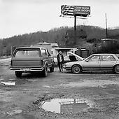 Big Otter, West Virginia.USA .January 14, 2005..Car junkyard.