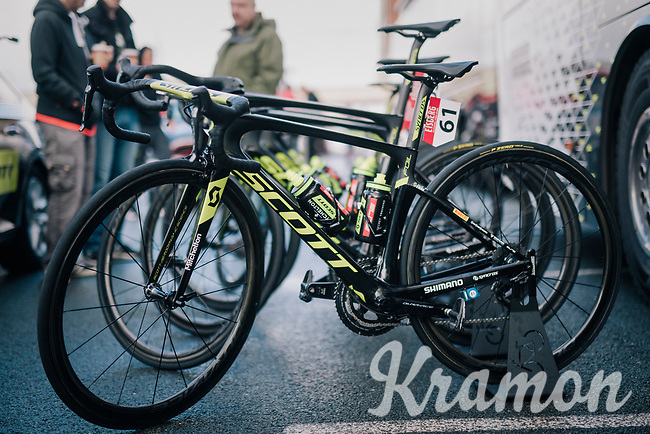 probably the smallest of all pro-bikes to race; that one of Caleb Ewan (AUS/Michelton-Scott)<br /> <br /> Stage 6: Barrow-in-Furness to Whinlatter Pass   (168km)<br /> 15th Ovo Energy Tour of Britain 2018