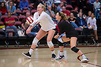 STANFORD, CA - November 15, 2017: Kathryn Plummer, Morgan Hentz at Maples Pavilion. The Stanford Cardinal defeated USC 3-0 to claim the Pac-12 conference title.