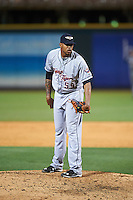Lakeland Flying Tigers relief pitcher Edgar De La Rosa (59) looks in for the sign during a game against the Bradenton Marauders on April 16, 2016 at McKechnie Field in Bradenton, Florida.  Lakeland defeated Bradenton 7-4.  (Mike Janes/Four Seam Images)