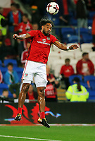 Ashley Williams of Wales practices headers during the FIFA World Cup Qualifier Group D match between Wales and Republic of Ireland at The Cardiff City Stadium, Wales, UK. Monday 09 October 2017
