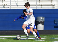 NWA Democrat-Gazette/CHARLIE KAIJO Bentonville High School Kaden Nelson (17) dribbles during a soccer game, Friday, April 26, 2019 at  Whitey Smith Stadium at Rogers High School in Rogers.