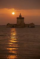 Europe/France/Poitou-Charentes/17/Charente-Maritime/Ile d'Oléron : Fort du Chapus ou fort Louvois au soleil couchant