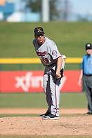 Salt River Rafters relief pitcher Adam Bray (16), of the Minnesota Twins organization, looks in for the sign during an Arizona Fall League game against the Mesa Solar Sox at Sloan Park on November 9, 2018 in Mesa, Arizona. Mesa defeated Salt River 5-4. (Zachary Lucy/Four Seam Images)