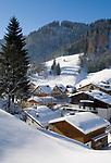 Oesterreich, Salzburger Land, Dienten: Dorfansicht, tief verschneit | Austria, Salzburger Land, Dienten: wintersport resort