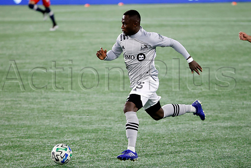 20th November 2020; Foxborough, MA, USA;  Montreal Impact defender Zachary Brault-Guillard pushes forward during the MLS Cup Play-In game between the New England Revolution and the Montreal Impact