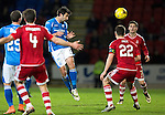 St Johnstone v Aberdeen…22.04.16  McDiarmid Park, Perth<br />Simon Lappin clears from Ryan Jack<br />Picture by Graeme Hart.<br />Copyright Perthshire Picture Agency<br />Tel: 01738 623350  Mobile: 07990 594431