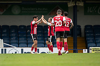 Matt Jay of Exeter City congratulates goalscorer Joel Randall of Exeter City during Southend United vs Exeter City, Sky Bet EFL League 2 Football at Roots Hall on 10th October 2020