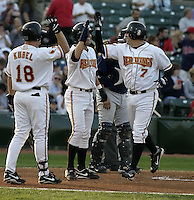 August 19, 2004:  Michael Ryan (7), Jason Bartlett (center), and Jason Kubel (18) of the Rochester Red Wings, Triple-A International League affiliate of the Minnesota Twins, celebrate Ryan's home run during a game at Frontier Field in Rochester, NY.  Photo by:  Mike Janes/Four Seam Images