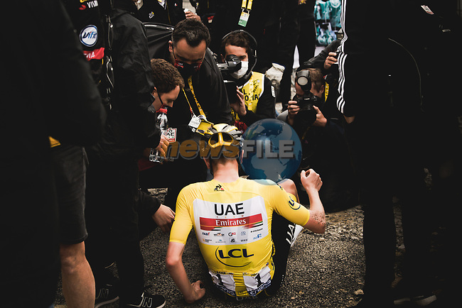 Yellow Jersey Tadej Pogacar (SLO) UAE Team Emirates wins Stage 17 of the 2021 Tour de France, running 178.4km from Muret to Saint-Lary-Soulan Col du Portet, France. 14th July 2021.  <br /> Picture: A.S.O./Pauline Ballet | Cyclefile<br /> <br /> All photos usage must carry mandatory copyright credit (© Cyclefile | A.S.O./Pauline Ballet)