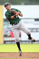 Jamestown Jammers second baseman Pedro Mendoza #6 during a game against the Batavia Muckdogs at Dwyer Stadium on June 27, 2011 in Batavia, New York.  Batavia defeated Jamestown 4-3.  (Mike Janes/Four Seam Images)