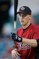 Hunter Pence of the Houston Astros during batting practice before a game from the 2007 season at Angel Stadium in Anaheim, California. (Larry Goren/Four Seam Images)