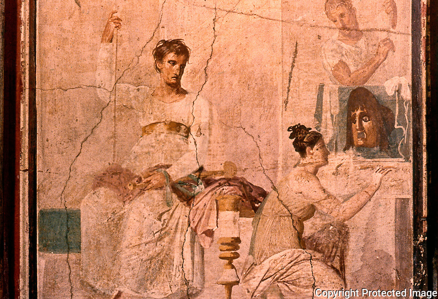 Roman Art:  Fresco--La Pittrice, scea di genere (affresco antico).  National Museum, Naples.