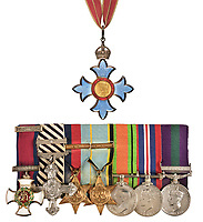 BNPS.co.uk (01202) 558833. <br /> Pic: DominicWinterAuctions/BNPS<br /> <br /> SEE BELOW UPDATED CAPTION<br /> <br /> The medals include Peter's CBE (top) and(from left to right) Distinguished Service Order<br /> Distinguished Flying Cross with Second Award Bar, 1939-1945 Star with Battle of Britain clasp, Air Crew Europe Star with France and Germany Clasp, Defence Medal, War Medal<br /> General Service Medal, There is also The Most Excellent Order of the British Empire, 2nd type, Military Division, Commander's (CBE) neck Badge<br /> <br /> The gallantry medals awarded to one of the RAF's finest Battle of Britain aces have been sold by his family for £192,000.<br /> <br /> Air Commodore Peter Malam Brothers destroyed 16 enemy aircraft during the Second World War and was a veteran of the Battle of France, the Battle of Britain, the Dieppe raid and D-Day. <br /> <br /> In his RAF logbooks that were also sold, he drew red swastikas to mark all his 'kills' and he wrote the words 'Good Show' to describe the Normandy invasion.
