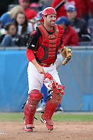 Batavia Muckdogs pitcher Houston Summers helps with some catching duties during a game vs. the Auburn Doubledays at Dwyer Stadium in Batavia, New York September 5, 2010.   Batavia defeated Auburn 7-0 in the regular season finale.  Photo By Mike Janes/Four Seam Images