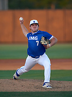 IMG Academy Ascenders pitcher Aeden Finateri (7) during a game against the Montverde Academy Eagles on April 8, 2021 at IMG Academy in Bradenton, Florida.  (Mike Janes/Four Seam Images)