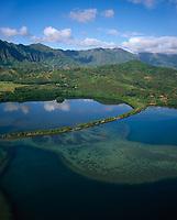 Heeia Fishpond, Aerial View, Kaneohe, Oahu, Hawaii, USA.