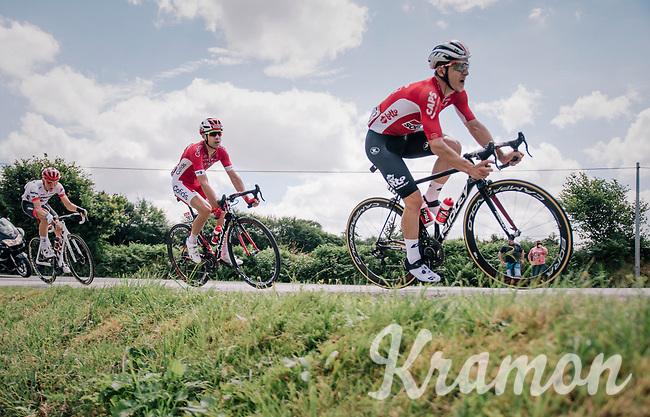 Jasper de Buyst (BEL/Lotto-Soudal), Nicolas Edet (FRA/Cofidis) & Tom Skujins (LAT/Trek Segafredo) dropped by Sylvain Chavanel overt the 2nd catagorized climb of the day<br /> <br /> Stage 5: Lorient > Quimper (203km)<br /> <br /> 105th Tour de France 2018<br /> ©kramon