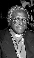 Montreal, June 2nd, 1986 File Photo of<br /> Bishop Desmond Tutu giving a speech against Apartheid,  during an official visit to Montreal (Quebec, Canada) on June 2nd 1986<br /> <br /> Photo by Pierre Roussel-IMAGES DISTRIBUTION