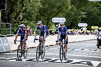 Mark Cavendish (GBR/Deceuninck - Quick Step), Tim Declercq (BEL/Deceuninck - Quick Step) & Michael Morkov (DEN/Deceuninck - Quick Step) rolling in smiling after their teammate Alaphilippe won the stage & the yellow jersey<br /> <br /> Stage 1 from Brest to Landerneau (198km)<br /> 108th Tour de France 2021 (2.UWT)<br /> <br /> ©kramon