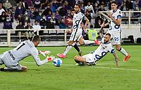 21nd September 2021; Artemio Franchi Stadium, Florence, Italy; Serie A championship football, AC Fiorentina versus Inter MIlan; Samir Handanovic of FC Internazionale gets his shot goalbound
