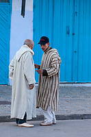 Chefchaouen, Morocco.  Two Middle-aged Men in Traditional Djellaba.