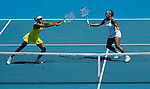 27 Jan 2009, Melbourne, Australia ---  Venus and Serena Williams of United States on a doubles match during the Australian Open Tennis Grand Slam January 26, 2009 in Melbourne. Photo by © Victor Fraile / The Power of Sport Images