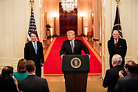 President Donald J. Trump, Judge Brett M. Kavanaugh and Anthony M. Kennedy, retired Associate Justice of the Supreme Court of the United States, Oct. 8, 2018, in the East Room of the White House in Washington, D.C. (Official White House Photo by Joyce N. Boghosian)