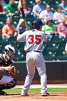 Bo Greenwell #35 of the Kinston Indians at bat against the Winston-Salem Dash at BB&T Ballpark on April 17, 2011 in Winston-Salem, North Carolina.   Photo by Brian Westerholt / Four Seam Images