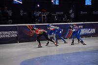SPEEDSKATING: DORDRECHT: 05-03-2021, ISU World Short Track Speedskating Championships, Heats 1000m Ladies, Volha Talayeva (BLR), Michaela Hruzova (CZE), Ekaterina Efremenkova (RSU), ©photo Martin de Jong