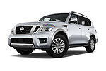 Stock pictures of low aggressive front three quarter view of 2018 Nissan Armada SV 5 Door SUV