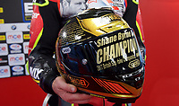 Shane Byrne of Be Wiser Ducati Racing Team with his Champions helmet after  winning the MCE British Superbikes in Association with Pirelli round championship 2017 - BRANDS HATCH (GP) at Brands Hatch, Longfield, England on 15 October 2017. Photo by Alan  Stanford / PRiME Media Images.