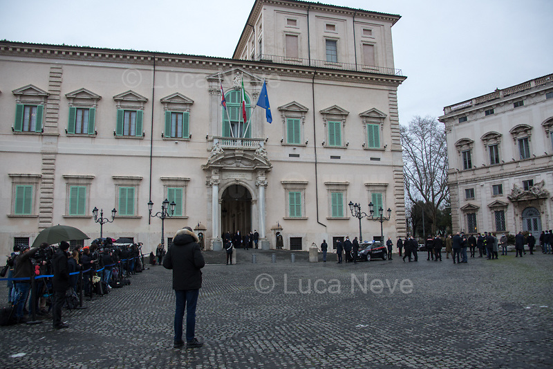 Rome, Italy. 13th Feb, 2021. The new Italian Government, led by Professor and former President of the ECB - European Central Bank - Mario Draghi, leaves the Palazzo del Quirinale (Quirinale Palace) after swearing in front of the President of the Italian Republic, Sergio Mattarella. This is the 67th Government of Italy.<br /> <br /> Footnotes & Links:<br /> Italian Government website: http://www.governo.it/