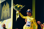 Julian Alaphilippe (FRA) Deceuninck-Quick Step finishes 3rd and takes back the Yellow Jersey at the end of Stage 8 of the 2019 Tour de France running 200km from Macon to Saint-Etienne, France. 13th July 2019.<br /> Picture: ASO/Thomas Maheux   Cyclefile<br /> All photos usage must carry mandatory copyright credit (© Cyclefile   ASO/Thomas Maheux)
