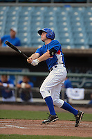 Shortstop Cody Callaway (18) of Midview High School in Elyria, Ohio playing for the Chicago Cubs scout team during the East Coast Pro Showcase on August 1, 2013 at NBT Bank Stadium in Syracuse, New York.  (Mike Janes/Four Seam Images)