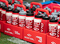 NASHVILLE, TN - SEPTEMBER 5: BioSteel bottles sit on the field during a game between Canada and USMNT at Nissan Stadium on September 5, 2021 in Nashville, Tennessee.