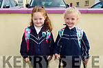 Junior infants Orla O'Regan and Nessa Casey on their first day in Glenderry NS on Tuesday.
