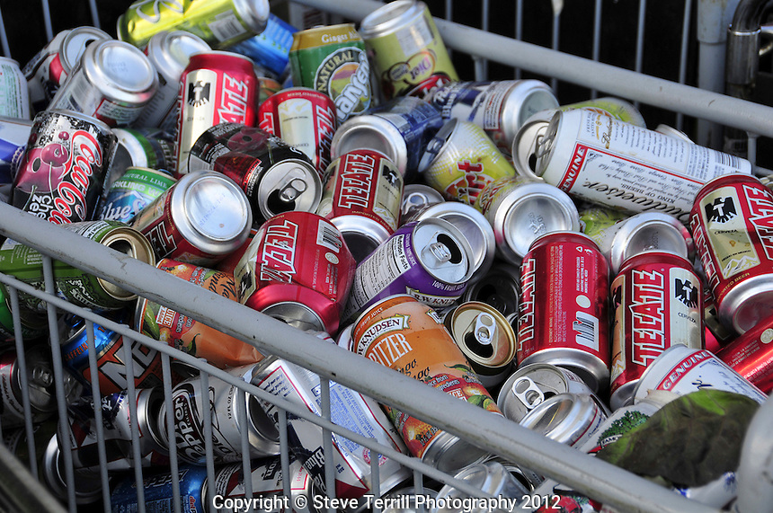 USA, Oregon, Aluminum cans in bin returned for deposit at grocery store in Portland