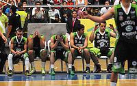 MEDELLIN-COLOMBIA- 26 -11--2013. Jugadores de Academia de la Monta–a muestran su decepcion al perder de locales e ir a la final a  un quinto partido en Bogota . Accion de juego correspondiente al partido entre   Academia de la Monta–a  y Guerreros de Bogota , cuarto  encuentro  de la final  de la Liga Directv de Baloncesto disputado en el coliseo Ivan de Bedout   /  .Academia de la Monta–a  players show their disappointment  losing local and go to the end to a fifth game in Bogota Action of play ,  ,  for the game between Academia de la Monta–a and Guerreros of  Bogota fourth meeting of the end of the Directv Basketball League played at the Coliseum Ivan Bedout game.Photo: VizzorImage /Luis Rios / Stringer